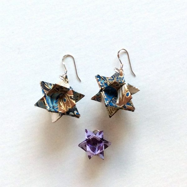 origami cube earrings made in two sizes for comparison, 3/4 inch and 1/2 inch