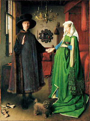 The Arnolfini Portrait, c.1434, by Flemish painter Jan van Eyck, depicts Giovanni Arnolfini and his Wife Costanza Trenta.
