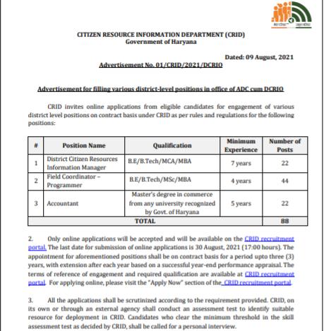 CRID Field Coordinator Recruitment 2021 Apply Online