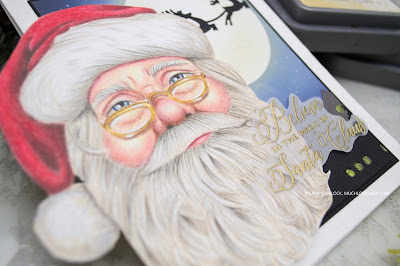 Christmas card, Picket Fence Studios, colored pencil coloring, realistic coloring, Polychromos pencils, Santa Claus, Believe in the Magic stamp set, Arctic Winter Stencil, Our Town Cover Plate Die, handmade card, diy Christmas Card