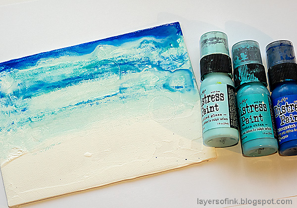 Layers of ink - Mixed Media Winter Landscape Canvas Tutorial by Anna-Karin Evaldsson. Paint with acrylic paint.