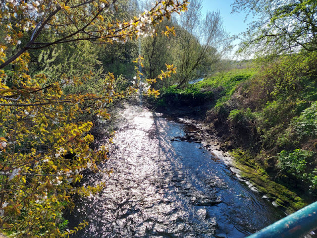 Water sparkling in a brook beneath a metal bridge on a bright Spring morning