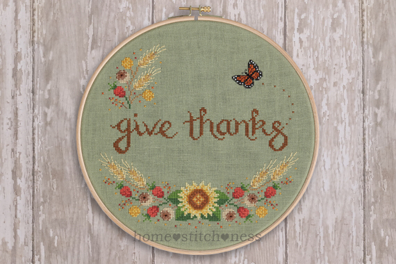give thanks autumn fall Thanksgiving cross stitch design by homestitchness