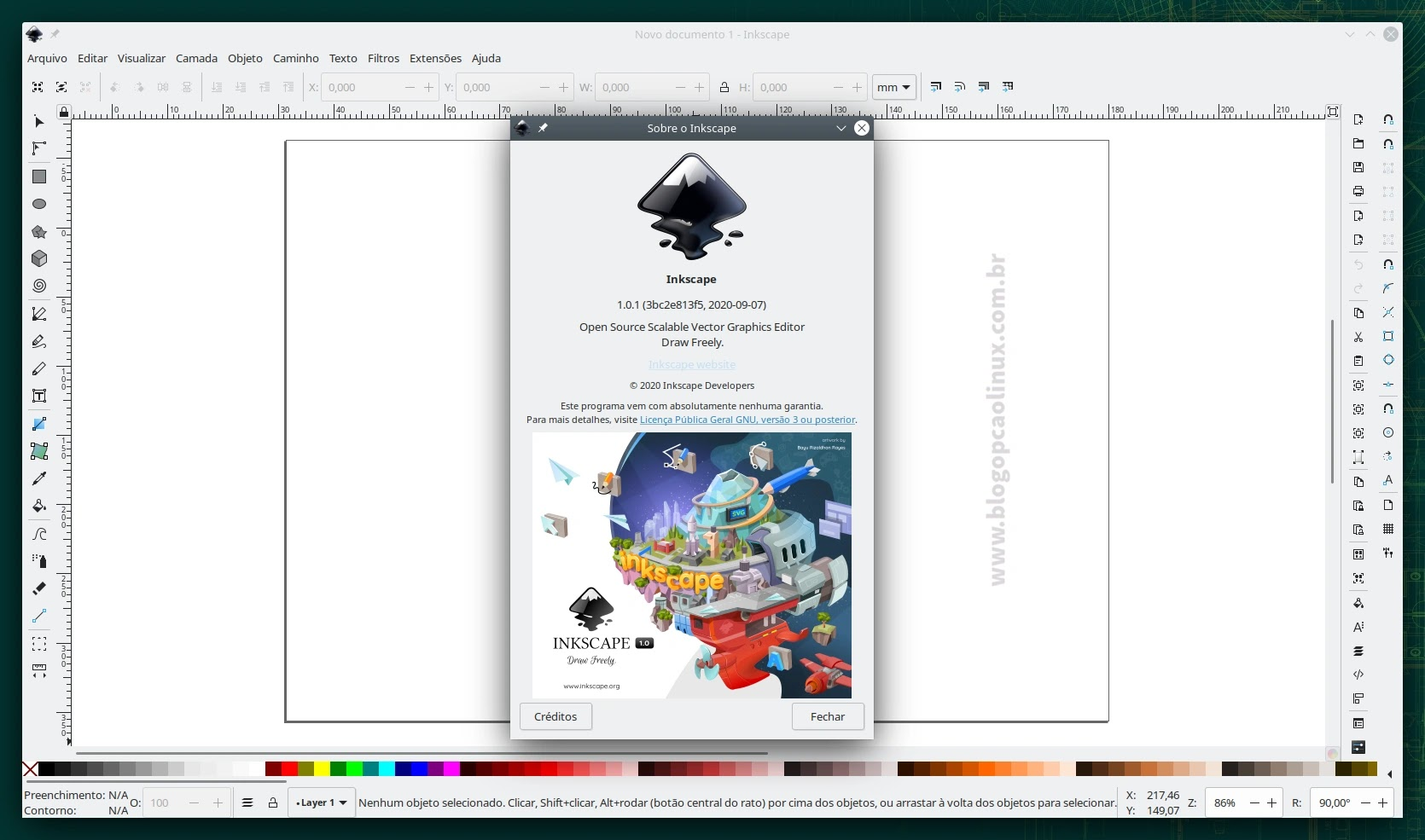 Inkscape executando no openSUSE Leap 15.3