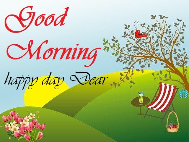 Beautiful good morning bird with flowers and sunrise image