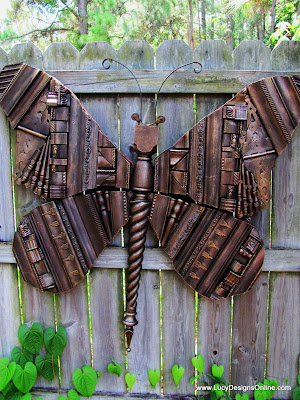 giant recycled butterfly art