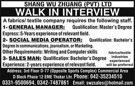Walk in Interview in Shang Wu Zhuang Pvt Ltd