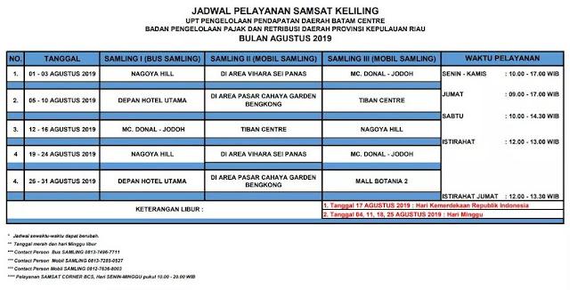 Jadwal Samsat Keliling Batam Agustus 2019
