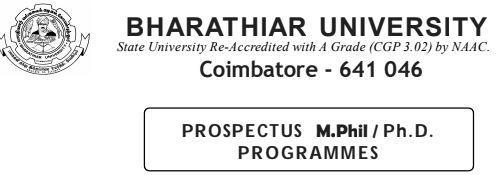 Bharathiar University M.Phil./Ph.D Admissions - Notification OCTOBER 2019 Session PDF(Last Date: 30.07.2019)