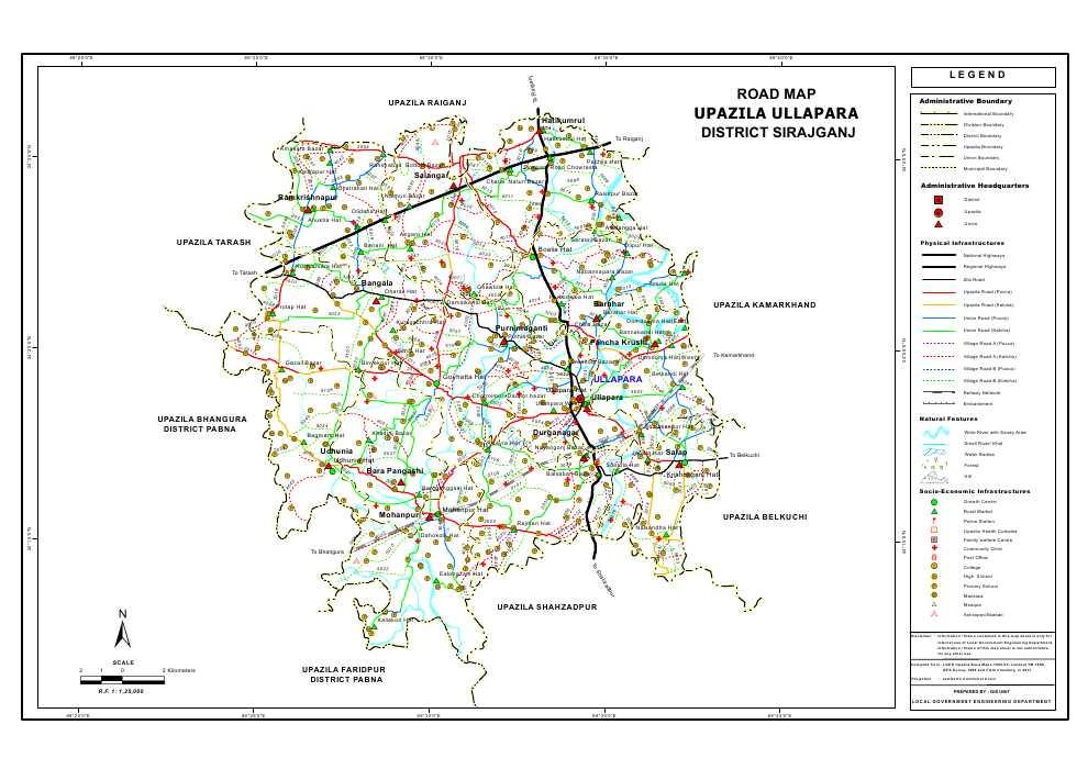 Ullapara Upazila Road Map Sirajganj District Bangladesh