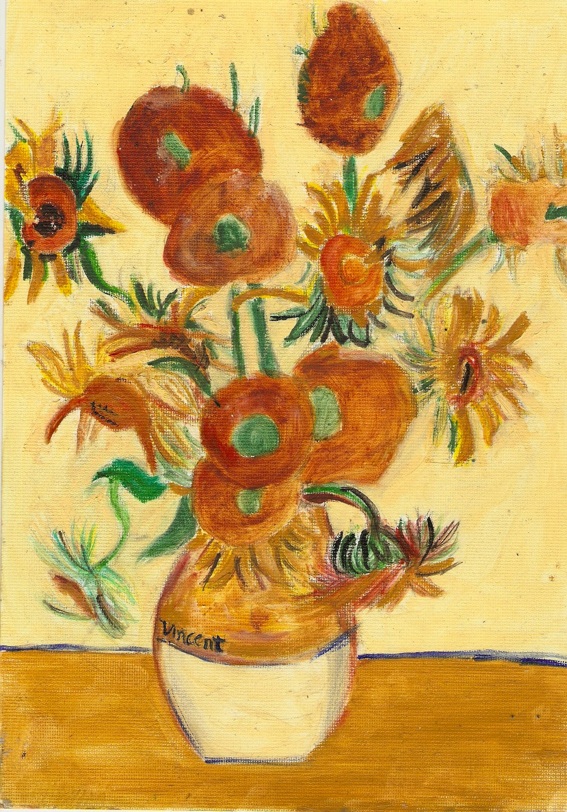 Vincent Van Gogh Paintings Sunflowers Button Tree Crafts Sunflowers Vincent Van Gogh 14 10 12