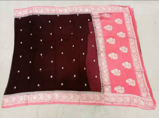 Pure chiffon Silk Handloom Saree