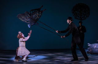 The Cunning Little Vixen – British Youth Opera at the Peacock Theatre. Hazel McBain (Vixen Sharp Ears) and Martins Smaukstelis (Butterfly). Photo: Clive Barda/ArenaPAL