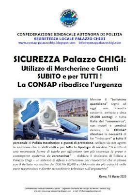 Comunicato CONSAP Palazzo Chigi  del 15 Marzo 2020