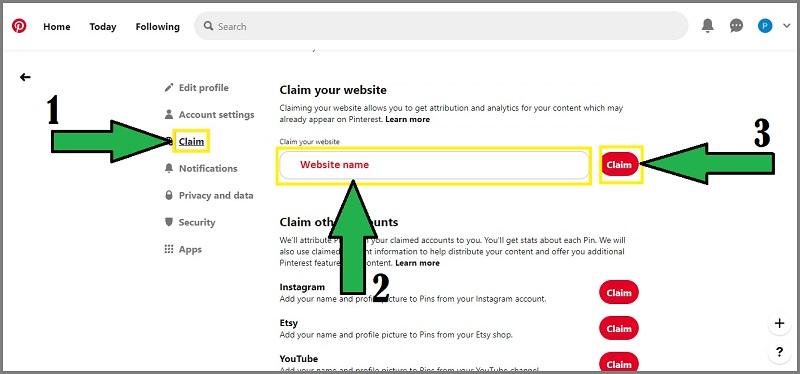 Pinterest URL claim