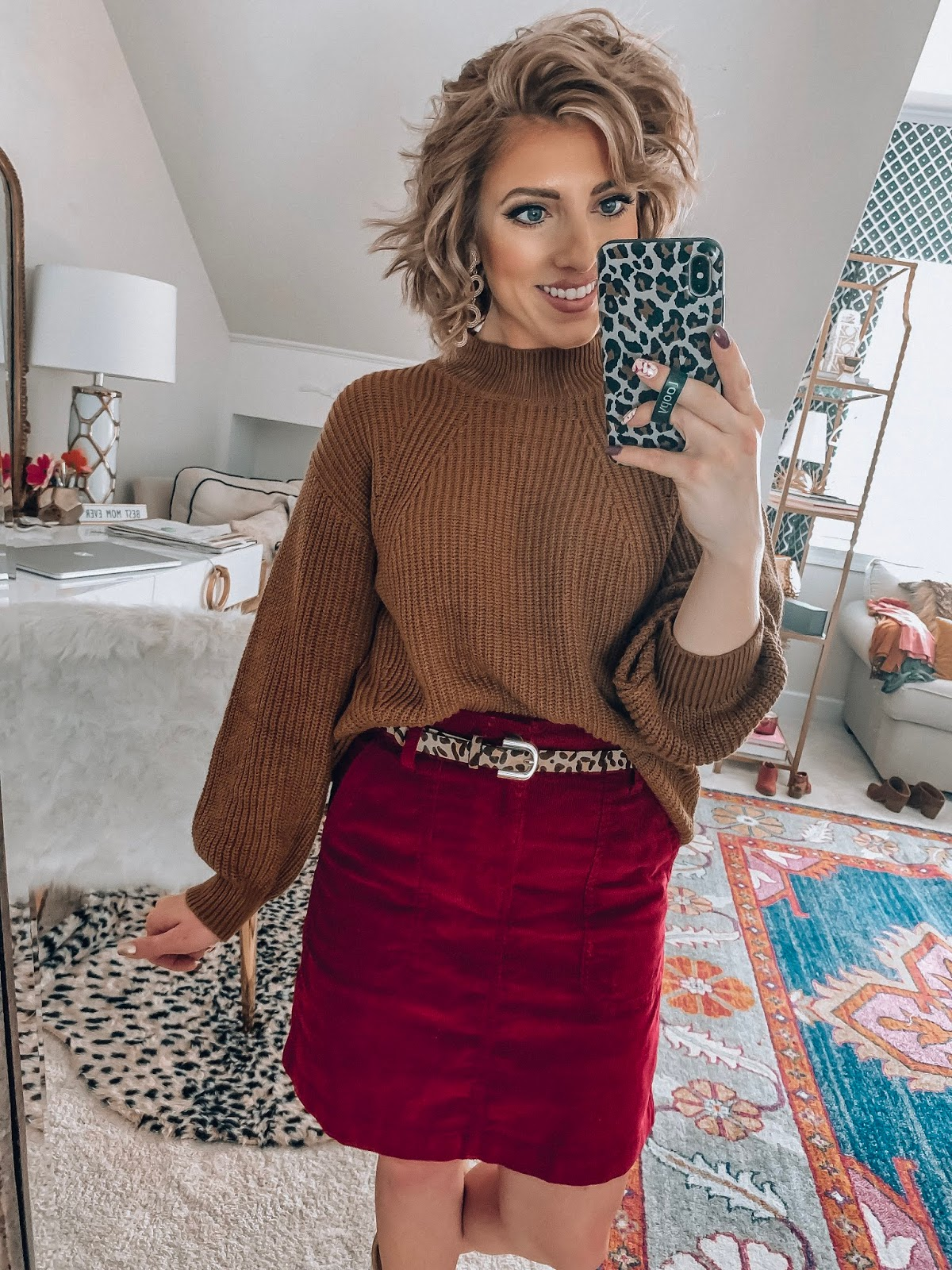 Old Navy Burgundy Cord Skirt + Mock Neck Sweater - Somethig Delightful Blog #affordablefashion