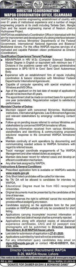 Jobs in Water & Power Development Authority WAPDA 2020