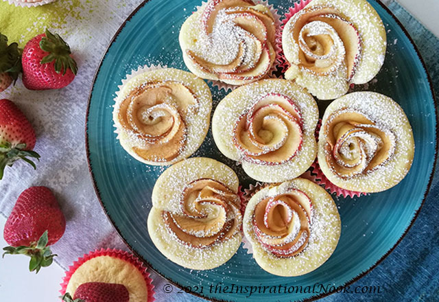 vanilla cupcakes, rose cupcakes, apple rose cupcakes, apple cupcakes, box cupcake hack, fluffy, moist, light, fruit, apple, no icing, no frosting, without frosting, Mother's Day