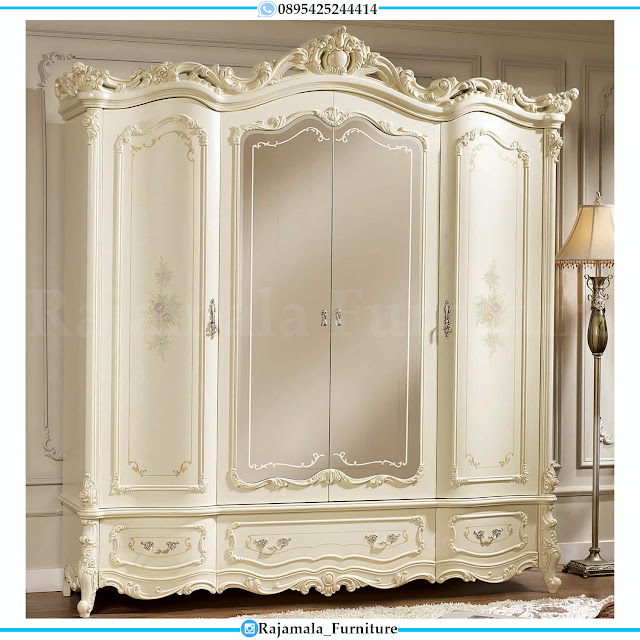 Lemari Pakaian Mewah Ukiran Jepara Terbaru Putih Duco Luxury RM-0376