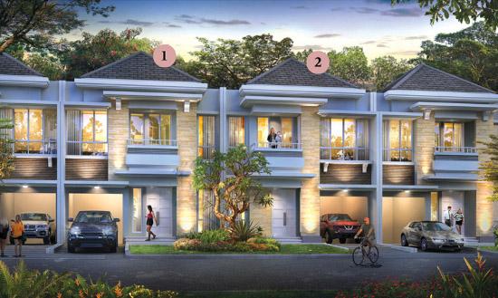 Tampak depan rumah minimalis ukuran 8x15 meter 5 kamar tidur 2 lantai