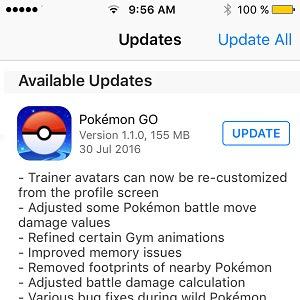 Fitur Terbaru Pokemon GO Version 1.1.0 [iOS] – 0.31.0 [Android] 30 Juli 2016