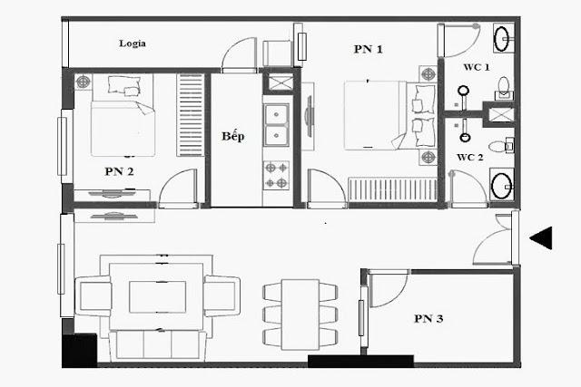 Hình minh họa thiết kế căn hộ 2 phòng ngủ