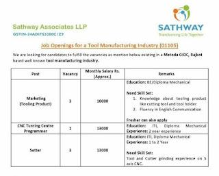 ITI and Diploma Job Vacancy For Tool Manufacturing Industry Metoda GIDC, Rajkot Gujarat
