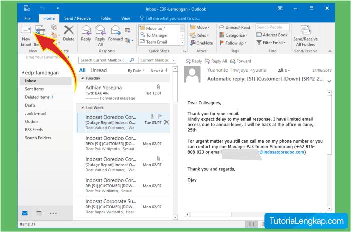 tutorial lengkap cara membuat email baru pada outlook
