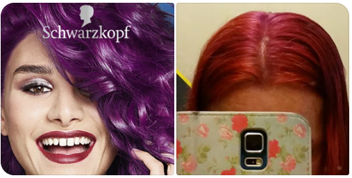 A purple dye which I was aiming for and what my hair ended up like. Pink and purple patches.