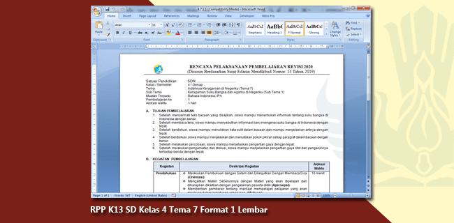 RPP K13 SD Kelas 4 Tema 7 Format 1 Lembar