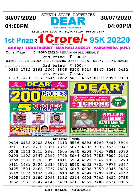 Sikkim State Lottery Sambad 30-07-2020 Today Result 4 PM