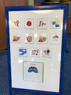 visual schedule with images of activities done in story time