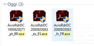 file exe di installazione delle varie versioni di adobe reader