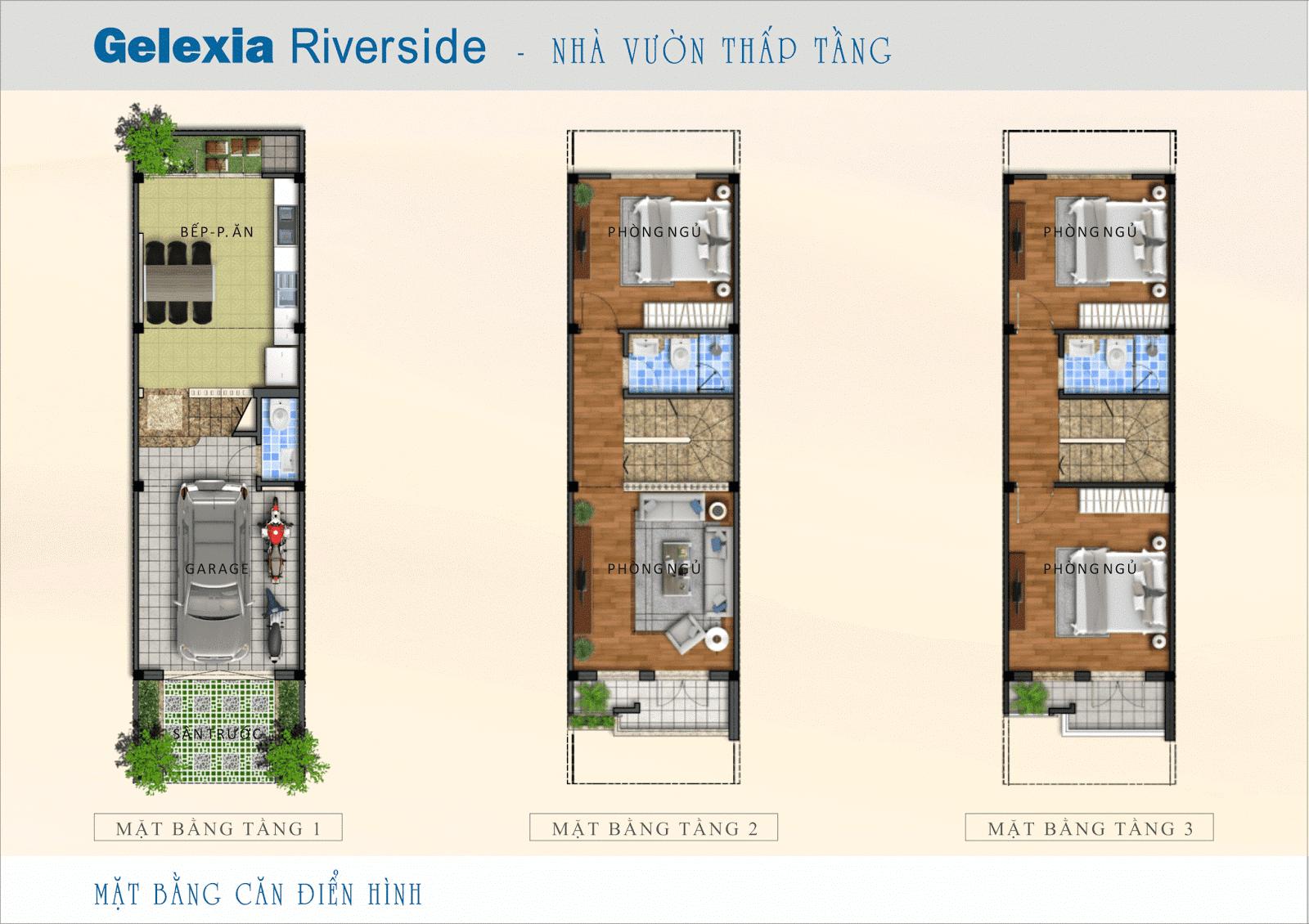 Mặt bằng điển hình nhà vườn đăng cấp Gelexia Riverside
