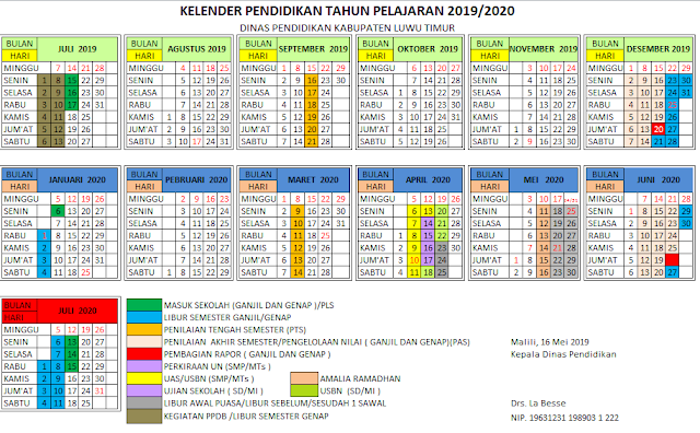 K13 : Kalender Pendidikan Kabupaten Luwu Timur Tahun Pelajaran 2019-2020