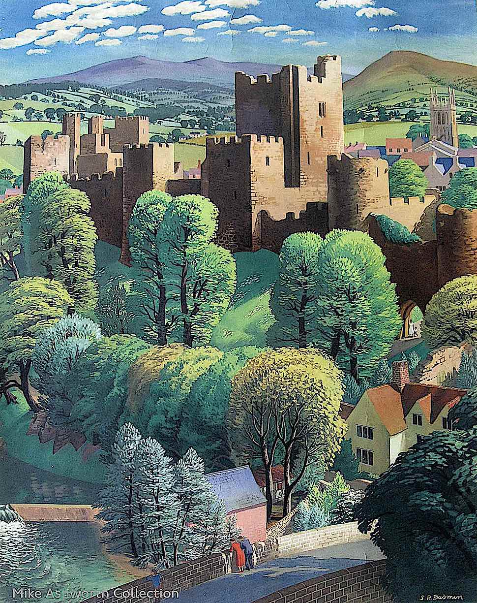an S.R. Badmin illustration of a castle and landscape
