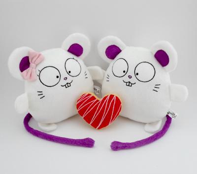 guyuminos, pareja de ratones de peluche, regalo de boda