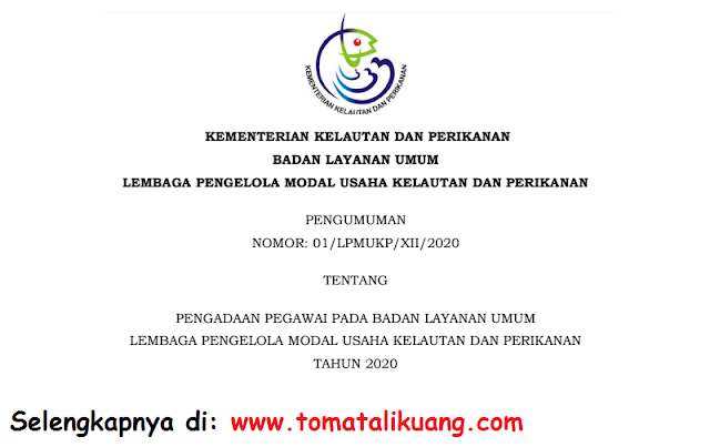 penerimaan pegawai non pns badan layanan umum lembaga pengelola modal usaha kelautan dan perikanan tahun 2020 tomatalikuang.com