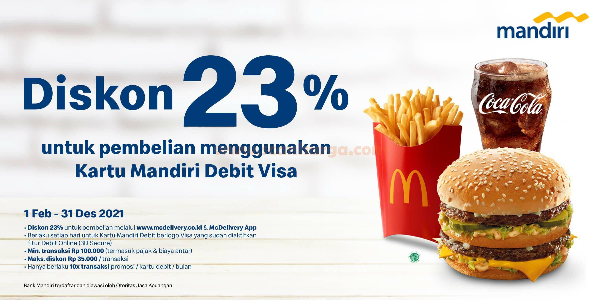 McDonalds Promo Diskon 23% dengan Kartu Debit Mandiri berlogo VISA
