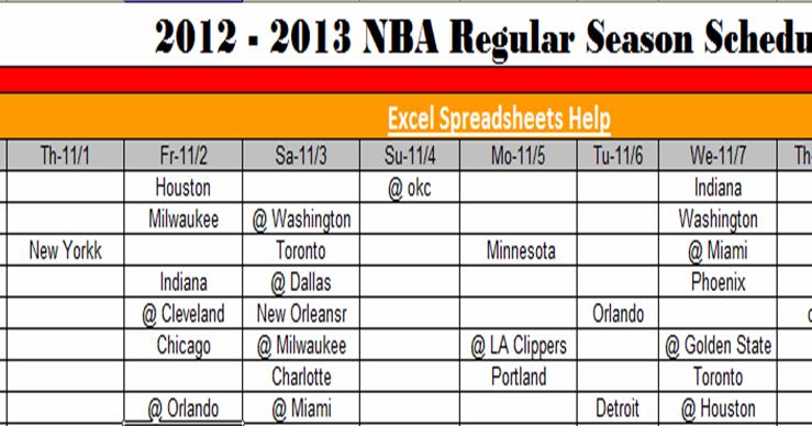 Excel Spreadsheets Help: NBA 2012 Schedule Download