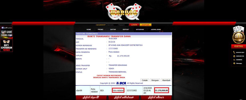 Selamat Kepada Member Setia WARUNGQQ Withdraw RP 21.170.000