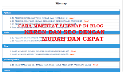 Cara Membuat SITEMAP di Blog Keren dan  SEO Dengan Mudah dan Cepat