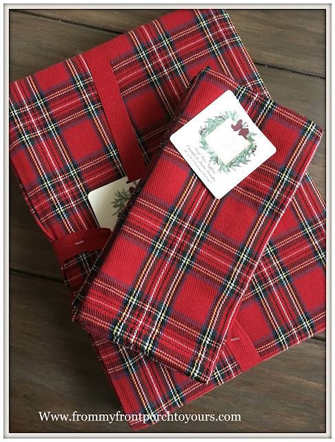 Christmas Decorations-HomeGoods-Christmas Plaid Tablecloth-Chritsma Plaid Napkins-From My Front Porch To Yours