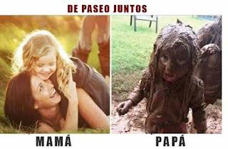 Niña paseando con mamá vs con papá