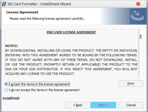 installing sd card formatter