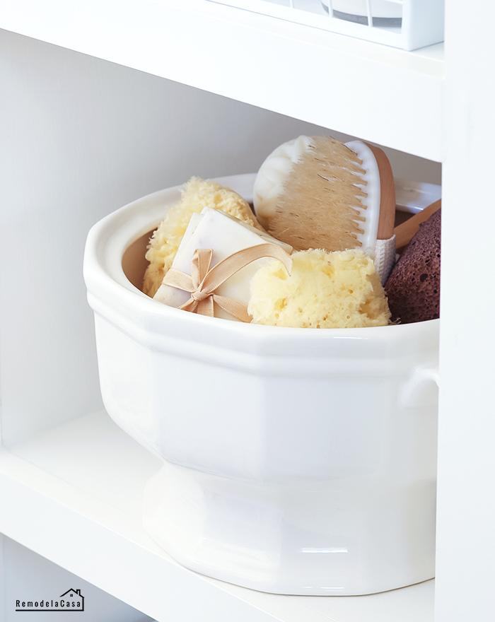 ceramic bowl storing bathroom necessities