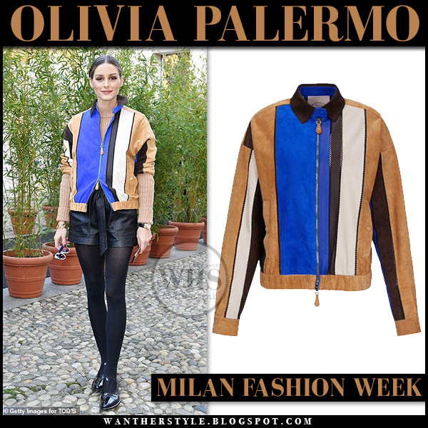 Olivia Palermo in blue brown color-block suede Tod's jacket and black leather shorts. Fashion week Milan outfits february 2019