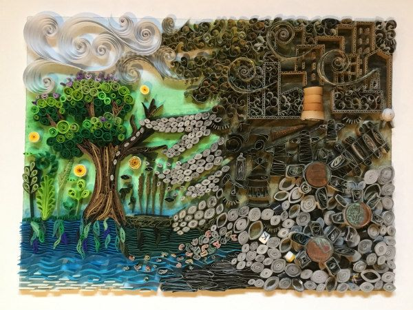 quilled landscape showing the impact of environmental pollution