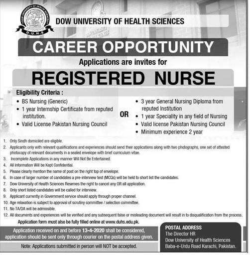 Career Opportunity Dow University of Health Sciences Karachi