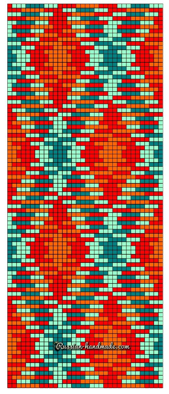Схема вязания салфетки мозаичным вязанием